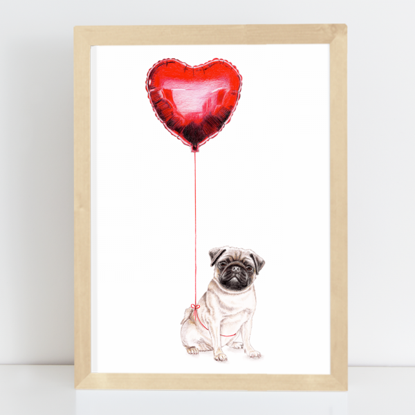 Pug with balloon, art print illustration by Janine Sommer